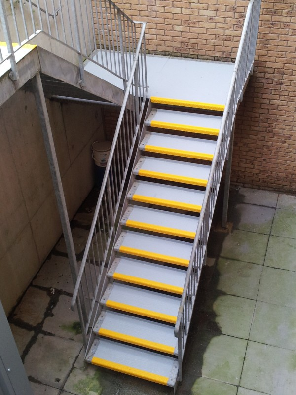 Slippery Metal Steps Chequer Plate Staircase
