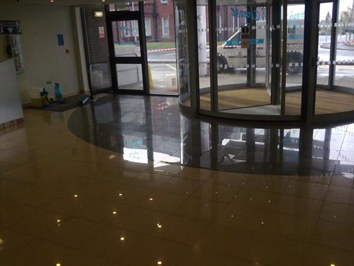 Non Slip Porcelain Tiles On Polished Hospital Entrance