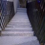 slippery metal stairs